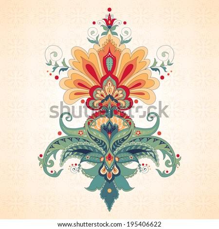 Vector illustration. Beautiful oriental traditional  paisley flower - stock vector