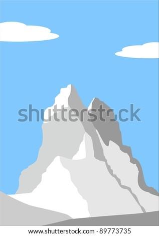 Vector illustration - Beautiful peak in Alps - mountain landscape - stock vector