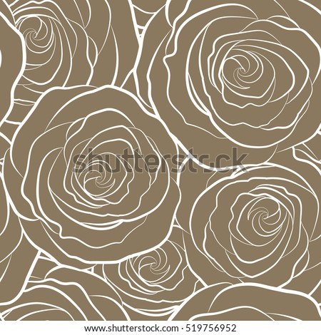 Vector illustration. Beautiful rose flowers in brown colors. Stylized roses silhouette seamless pattern.