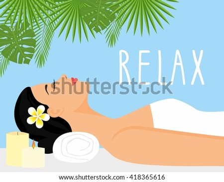 vector illustration  beautiful woman in spa environment. woman relaxing in wellness and spa salon. Vector Illustration. - stock vector