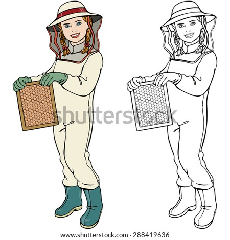 Vector illustration, beekeeper, coloring drawing, card concept, white background.
