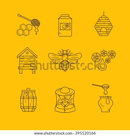 Vector illustration beekeeping in outline style. Beehive icon, bee, apiary and honey symbols for honey healthy food designs. Apiary icons: bee, honey, apiarist, beehive, honeycomb. Beehive apriary - stock vector