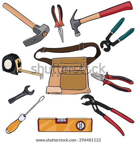 Vector illustration, belt with tools, cartoon concept, white background.