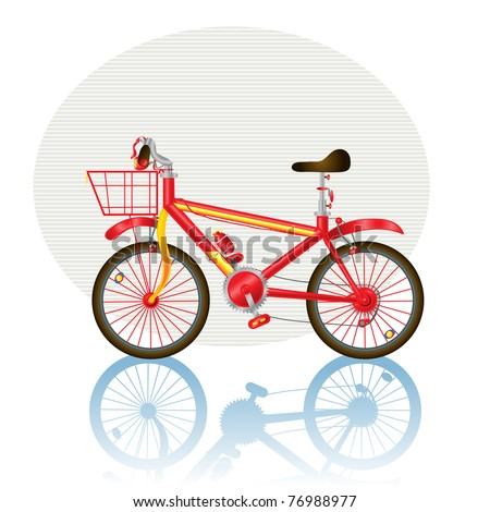 Vector illustration, bicycle icon, card concept, white background. - stock vector