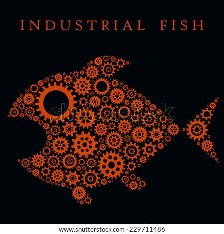 Vector Illustration: Big Fish in Techno Style on Black. Modern Art Mosaic - stock vector
