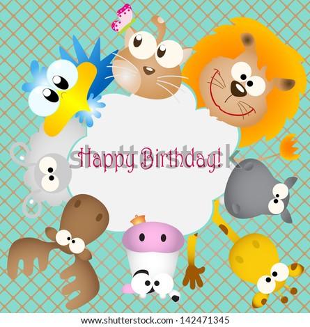 Vector Illustration Birthday Card Animal Bug Stock Vector 2018