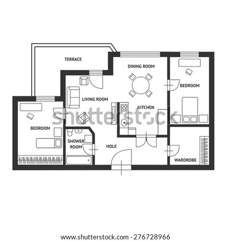 Vector illustration. Black and White floor architect plan with a furniture. Flat Design - stock vector