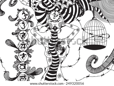Vector illustration, black and white sketch, line of thoughts. - stock vector