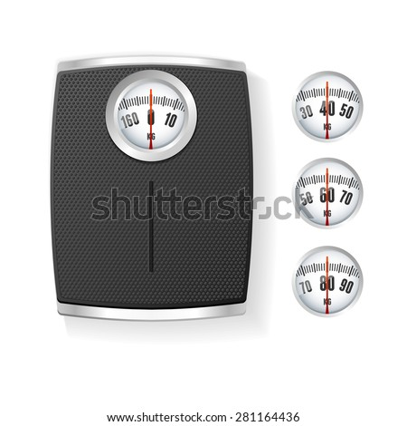Vector illustration Black  Bathroom Scale isolated on a white background. The concept of control of body - stock vector
