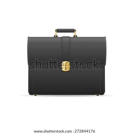 Vector illustration black briefcase, cuitcase. Marketing and business concept - stock vector