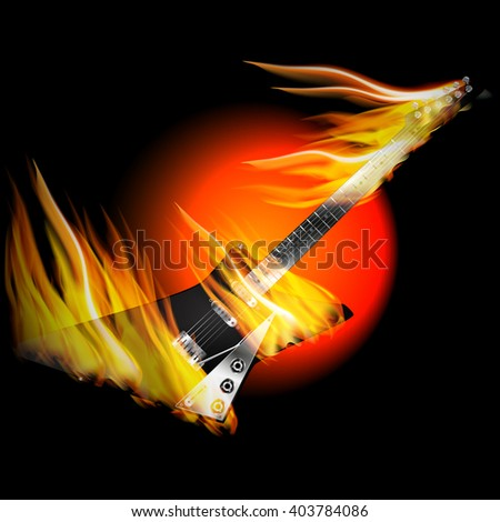 Vector illustration Black Electric Rock Guitar in fire and flames on a black background with oranzhevym circle. - stock vector