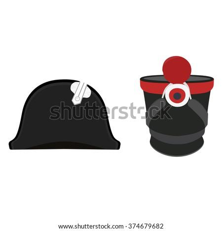 Vector illustration black Napoleon Bonaparte hat and cylindrical military cap. Infantry shako hat. General bicorne hat - stock vector
