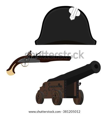 Vector illustration black Napoleon Bonaparte hat, old canon and flintlock musket gun. General bicorne hat - stock vector