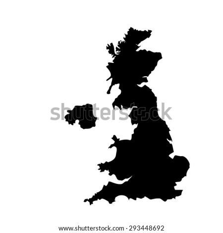 Vector illustration black silhouette of uk map. England map. United Kingdom of Great Britain. Uk map counties - stock vector
