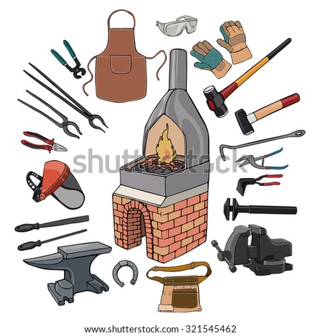 Vector illustration, blacksmith gear, cartoon concept, white background.