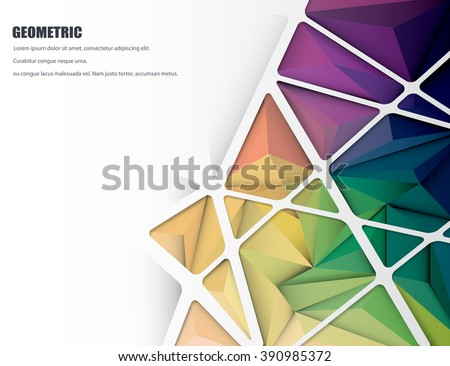 Vector illustration blank white space with Abstract 3D Geometric, Polygonal, Triangle pattern shape and multicolored,blue, purple, yellow and green background - stock vector