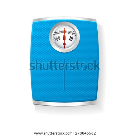 Vector illustration  Blue Bathroom Scale isolated on a white background.  - stock vector