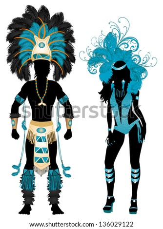 Vector Illustration Blue Couple for Carnival Costume Silhouettes with a man and a woman. - stock vector