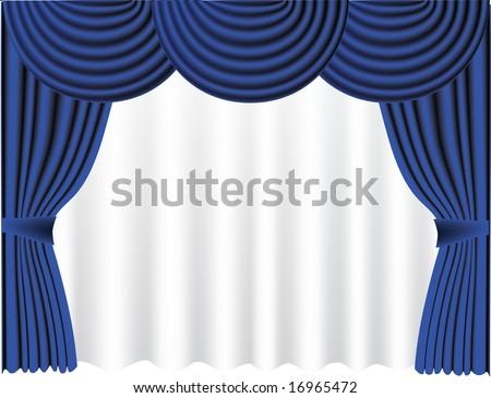 Vector illustration, blue curtain - stock vector