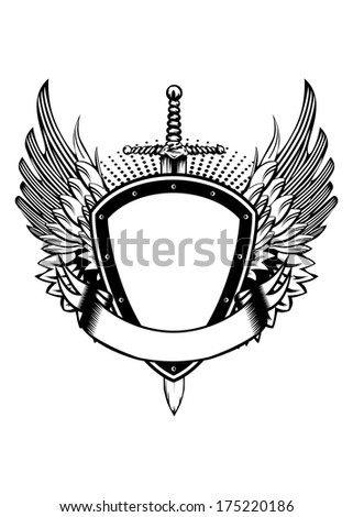 Vector illustration board wings and sword - stock vector