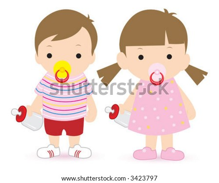 Vector illustration boy and girl - stock vector