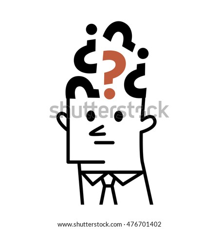 Vector illustration - Brain with Question mark