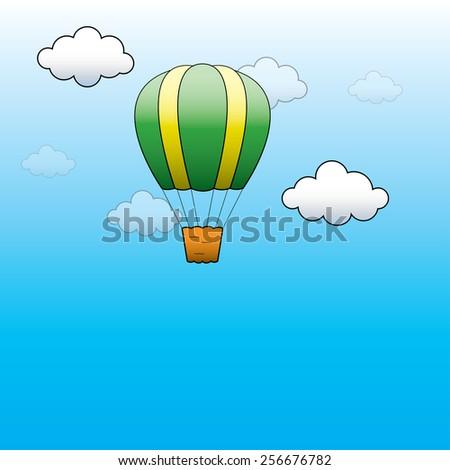 Vector illustration. Bright Hot Air Balloon flying in the blue sky - stock vector