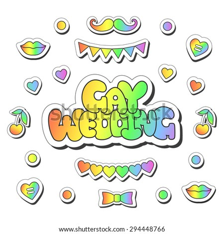 """Vector illustration: bright sticker slogan """"Gay wedding""""  made of rainbow plump hand-drawn letters, hearts, lips, cherry, buttons, flag garland, bow tie and mustache isolated on white background - stock vector"""