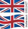 Vector illustration: British flag, includes waving version - stock vector