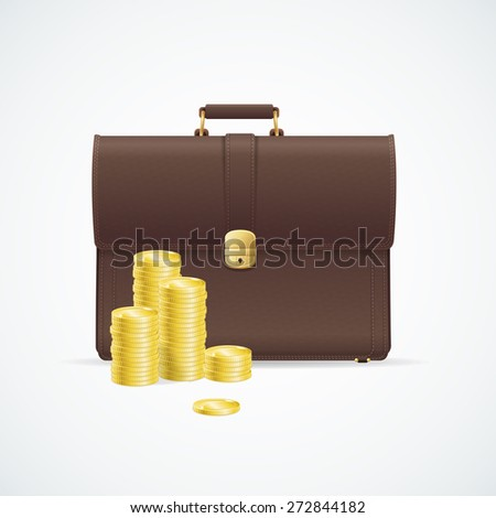 Vector illustration brown briefcase, cuitcase and money concept isolated on white background.  - stock vector
