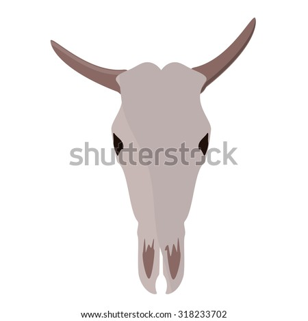 Vector illustration bull or cow skull with horns.