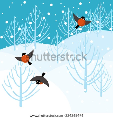Vector illustration bullfinch in the winter forest
