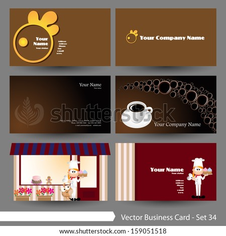 Vector illustration business card template set stock vector vector illustration business card template set food restaurant drink coffee theme wajeb Image collections