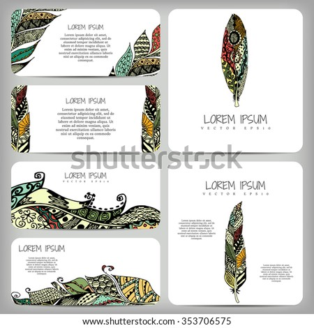 Vector illustration business cards banners stylized stock vector vector illustration business cards banners with stylized feathers zentangl dudling doodle colourmoves