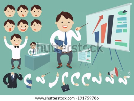 vector illustration business concept set  young man (businessman character) graphics on the white board, flat style - stock vector