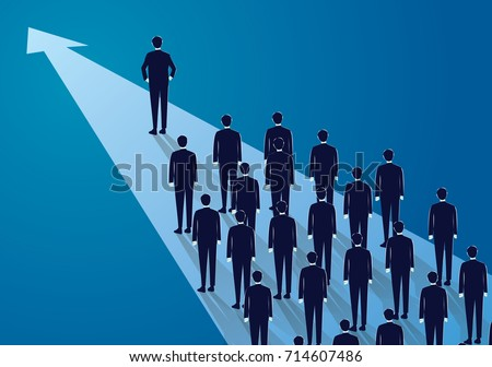 Vector illustration, business leadership concept, manager leading team group of business people moving forward into brighter success future