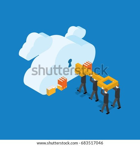 Business People With Key And Clouds With Keyholes. Isometric Flat Design.