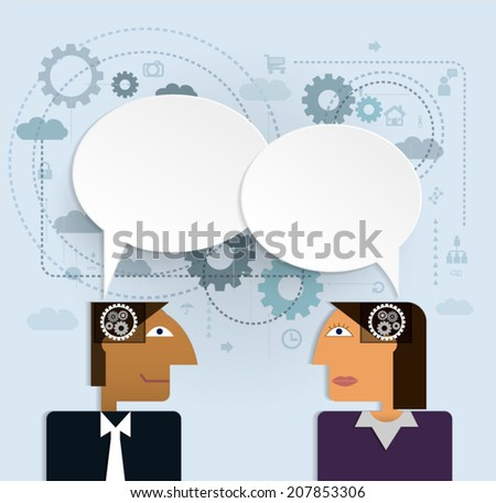 Vector illustration business people with speech bubble.social network, communication in the global computer networks - stock vector