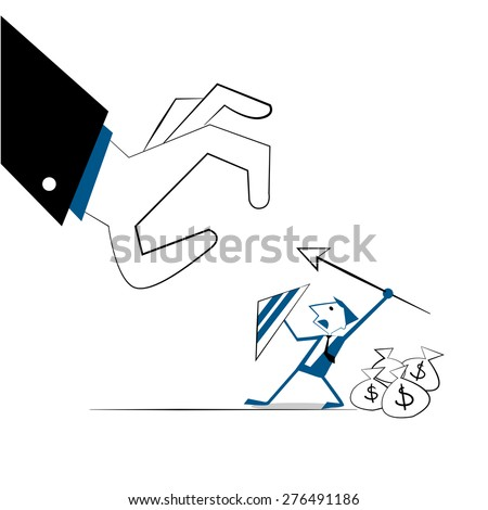Vector illustration businessman with shield and spear fighting for protect money bags. Conceptual business  protecting money to investments,  management. Isolated on white background  - stock vector