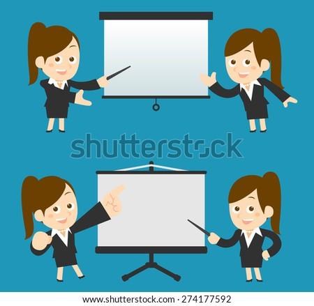 Vector illustration - Businesswoman set - stock vector
