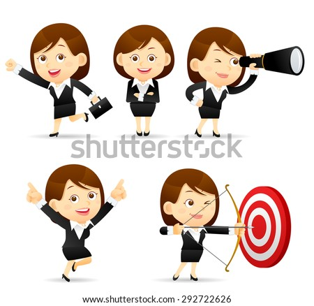Vector illustration - Businesswoman set  - stock vector