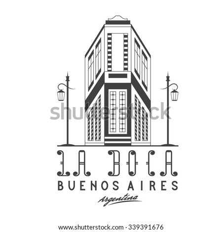 Vector illustration Caminito street in La Boca neighborhood of Buenos Aires, Argentina - stock vector