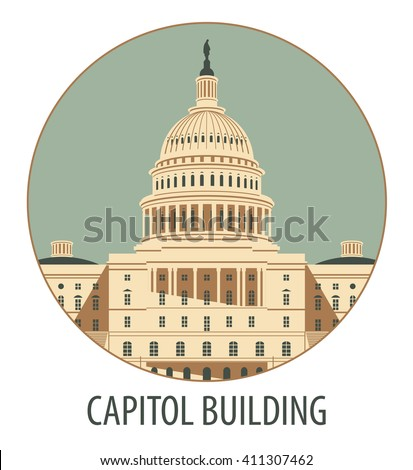 Vector illustration Capitol Building in Washington, DC - stock vector