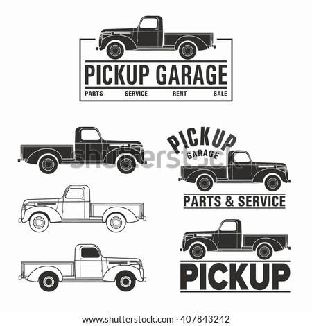 Vector illustration car truck 4x4 pickup logo - stock vector