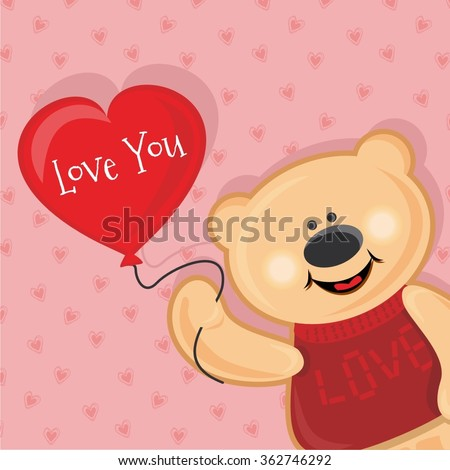 Vector illustration card cute teddy bear with the red heart - stock vector