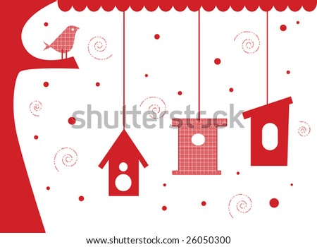 Vector illustration card design of bird in tree with bird houses