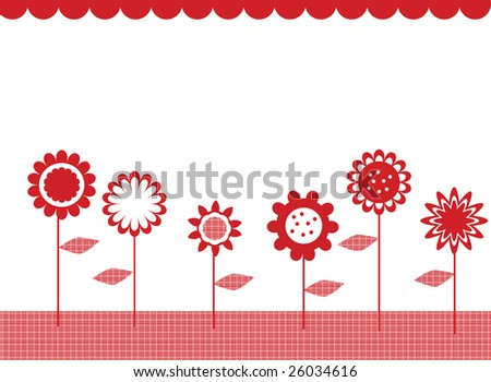 Vector illustration card design of retro style flowers in a row - stock vector
