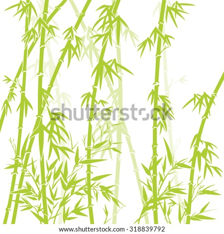 Vector illustration card with green bamboo Traditional Japanese painting