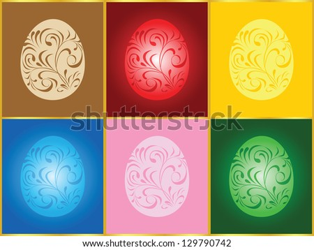 Vector illustration card with six Easter eggs - stock vector