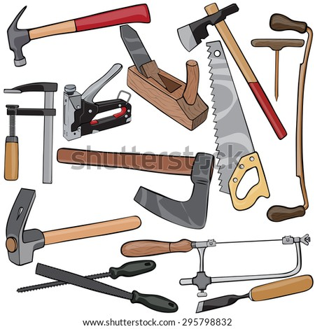 Vector illustration, carpenter's tools, cartoon concept, white background.